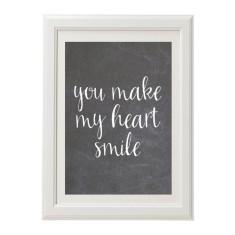 You make my heart smile chalk style print