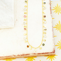 Sweetie Disc Charm Necklace In Gold Plate