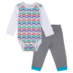 Zig-zag long sleeve onesie with grey pants