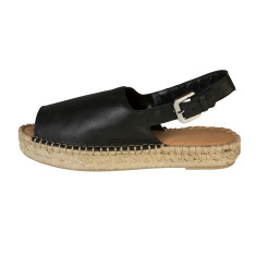 Alohas Black Leather Heelstrap Sandal