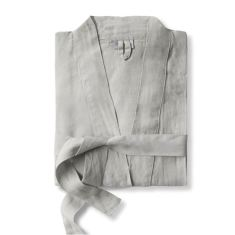 Linen Bathrobe, Dove Grey