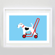 White dog on wheels print