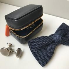Luxury Leather Cufflink Box for Travel