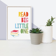 Book lover read big, little one - framed mini children's print