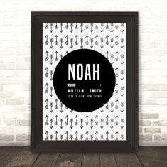Custom Birth Print for Nursery - Arrow Design