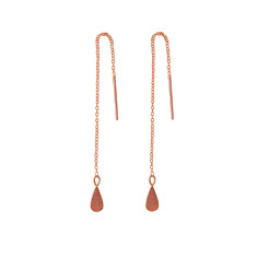Tear drop thread earrings in rose gold plate