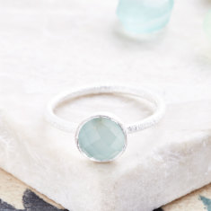 Cupcake Smaller Ring In Silver With Aqua Chalcedony