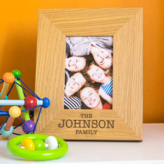 Personalised Family Name Engraved Oak Picture Frame