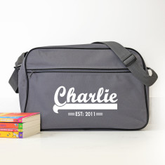 Personalised Grey Retro Shoulder Bag With Name