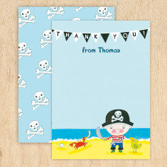 Personalised pirate thank you cards (set of 8)