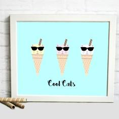 Frida Cool Cats Print (Aqua or Pistachio Green)