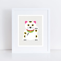 Lucky cat maneki-neko art print