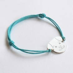 Personalised Sterling Silver Fido Dog Face and Cord Bracelet