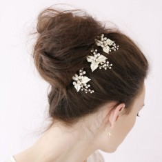 Crystal leaf hair pin set