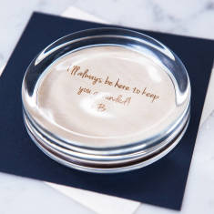 Personalised wooden engraved paperweight