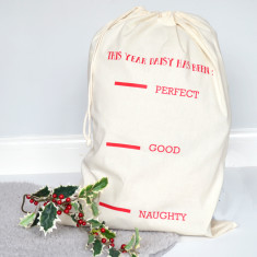 Santa's Fill Line Personalised Santa Sack