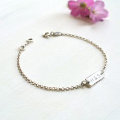 Personalised Sterling Silver Mini Bar Initials Bracelet