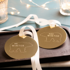 Personalised Mr And Mrs Polar Bear Disc Decoration