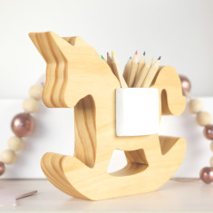 Hand-crafted Wooden Unicorn Pen Holder