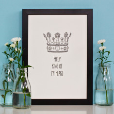 King & Queen Personalised Crown Print