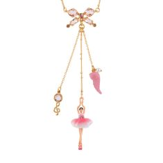 Pink/White Ballerina With Bow Long Necklace
