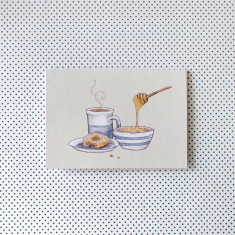 Pack of 4 Breakfast Porriage Watercolour Illustration Greeting Cards