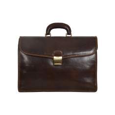 Classic real leather chocolate briefcase