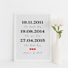 Personalised special dates, the first day, the best day, the yes day print