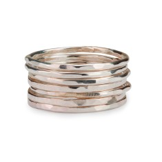 Rose or yellow gold 14ct gold filled hammered stackable rings (set of 7)