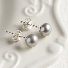 Small Grey Pearl Stud Earrings