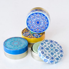 Turkish olive oil soap in round metal tin (set of 3)