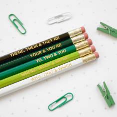 Ombre green grammar pencil set