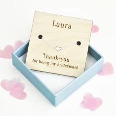 Thank You Bridesmaid Personalised Heart Bracelet
