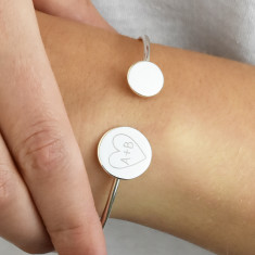 Personalised Double Disc Heart Initial Bangle Bracelet