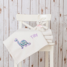 Personalised Baby Blanket with a Pretty Dinosaur