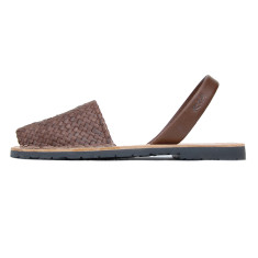 Fornells braided leather sandals in chocolate brown
