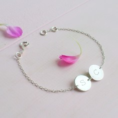 Personalised Sterling Silver Twin Initial Disc Bracelet