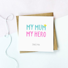 Personalised my hero Mother's day card