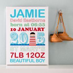 Personalised Birth Announcement Nautical Word Art