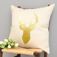 Metallic Gold Stag Cushion