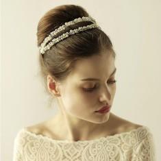 Handmade Double Row Pearl Crown
