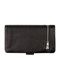 Esther leather wallet in black bubble