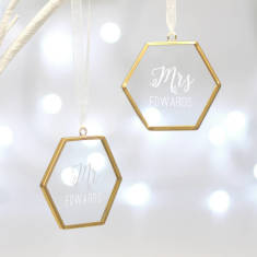 Set Of Two Personalised Mr And Mrs Hexagon Decorations