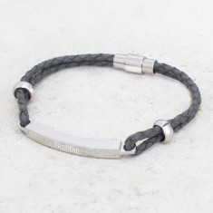 Personalised Men's Leather Grey Bracelet