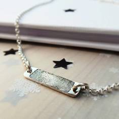 Inked Fingerprint Bar Necklace