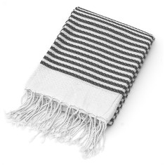 Black stripe organic cotton throw/beach blanket