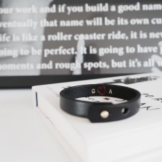 Initials + heart personalised leather wristband