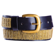 Leather beaded belt in gold