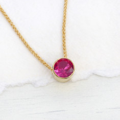Ruby Necklace in 18ct Gold, July Birthstone