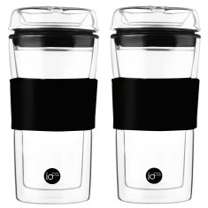 Hand-blown Tea & coffee traveller cups in Hardened Glass (set of two)
